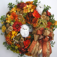 Autumn Wreath, Fall Wreath, Owl Wreath, Halloween Wreath, Winter Wreath, Thanksgiving Wreath, Christmas Wreath