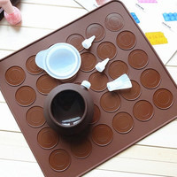 Silicone macaron mold mat 1 piece with 30 or 48 cavities - macaron mold pancake mold mat for bakery including Decorating Pot with Nozzles