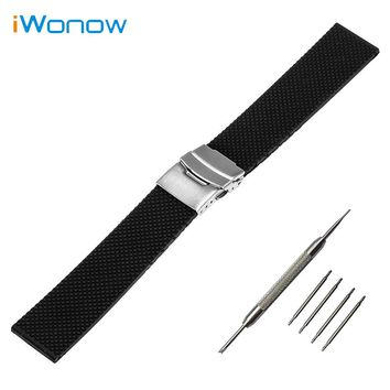 Silicone Rubber Mesh Pattern Watch Band 19mm 20mm 21mm 22mm 23mm 24mm for Baume & Mercier Safety Buckle Strap Wrist Bracelet
