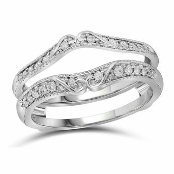 14kt White Gold Women's Round Diamond Ring Guard Wrap Solitaire Enhancer 1/4 Cttw - FREE Shipping (US/CAN)