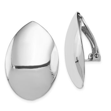 925 Sterling Silver Rhodium-plated Polished Oval Non-pierced Earrings