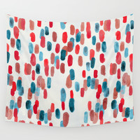Watercolor Ovals - Red, Blue & Cream Wall Tapestry by TigaTiga Artworks