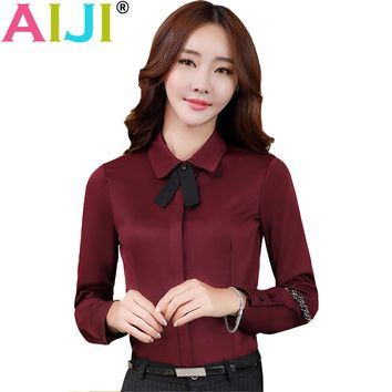 AIJI 2017 Autumn women Formal clothing long sleeve shirts OL elegant bow tie chiffon blouse office ladies plus size work tops