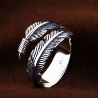Vintage Feather Silver Ring