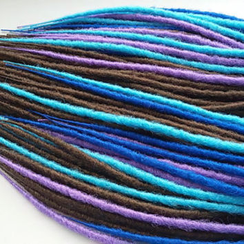 SYNTHETIC DOUBLE ENDED Full set x10 Dreads Custom Synthetic  Extensions Handmade walnut color dreadlocks kanekalon Blue Lilac