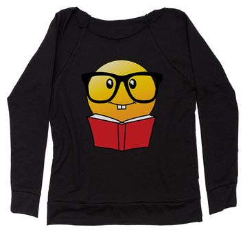 Emoticon Book Nerd with Glasses Slouchy Off Shoulder Oversized Sweatshirt