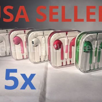 5x LOT Mix Color Earpods Earphones Earbuds Headsets Remote Mic -for Apple iPhone