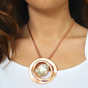 Two Open Circle & Oval Stone Middle Necklace