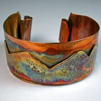 Copper Cuff Bracelet Featuring Forged Copper by febrarose on Etsy