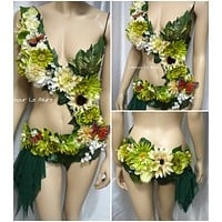 Woodland Forest Fairy Monokini Costume Cosplay Dance  Rave Bra  Halloween Burlesque Show Girl