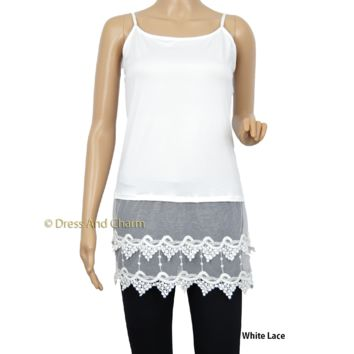 White lace womens top, Lace Cami Tank, Shirt Extender, Plus Sizes Available
