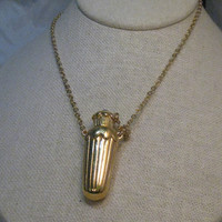 "Vintage Gold Tone Perfume, Lotions & Potions Bottle, Blue stone Necklace, 28"", 1970's"