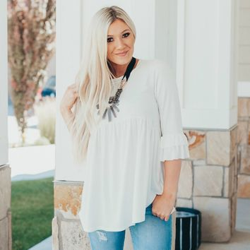 Avalon Ruffle Sleeve Top | Peplum Shirt