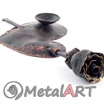 Candle Holder Wrought Iron Metal Rose - Floral Brass Candlestick - Blacksmith Forged Metal Flower Art Sculpture - Iron Heart - Metal Heart
