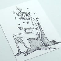 nude dryad nature ACEO print illustration fantasy