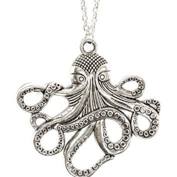 Octopus Necklace Nautical Ocean Sea Monster Vintage Silver Tone Pendant NP12 Fashion Jewelry