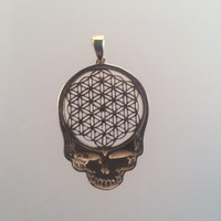 Grateful Dead ~ 10k Gold Flower of Life Steal Your Face Pendant - Small - Sacred Geometry