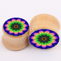 Body Piercing Jewelry 1 Pair Beautiful Colorful Flower Wood Flesh Tunnels Stretching Gauges Stretcher Expander 6mm--16mm