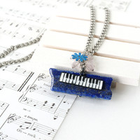 Music Piano Keyboard Charm on Blue Lapis Lazuli Stone Slice Necklace