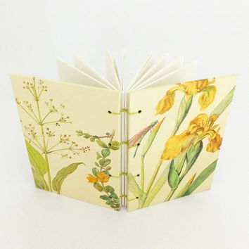 Summer Journal, Botanical Notebook, Blank Notebook, Yellow Flag, Sketchbook, Nature Notebook, Travel Journal