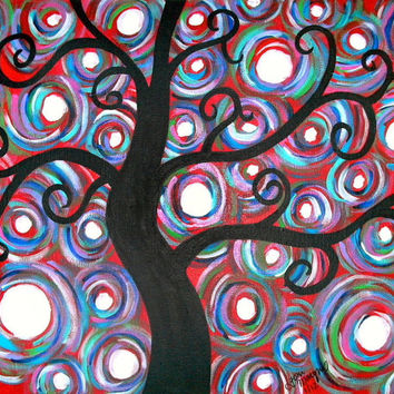 Custom Tree Painting 8x10, 9x12 or 11x14 Acrylic on Canvas Wall Decor Original Colorful Artwork Custom Gift Idea Made to Order Nature Art
