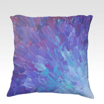SCALES of a DIFFERENT COLOR Purple Fine Art Velveteen Throw Pillow Cover 18 x 18 Abstract Plum Eggplant Splash Waves Modern Dorm Home Decor