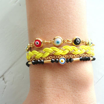 Evil eye bracelet set in yellow black turkish istanbul jewelry women christmas gift best friend birthday present mother accessories