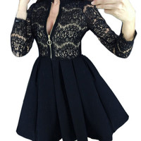 Autumn Women Sexy Lace Patchwork Party Dresses Solid Color 3/4 Sleeve Zipper Mini Dress New Year