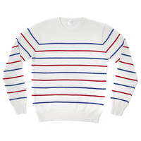 SAILOR STRIPE CREWNECK SWEATER-WHITE W/ COBALT AND RED STRIPES