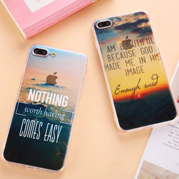Scenery & Eiffel Tower Bridge Cloud Paiting Acrylic Back Case Cover Coque for iPhone 7 6 6s Plus 5 5S SE Phone Cases Capa