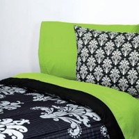 Extra-Long Twin Sheet Set, Black & White Damask