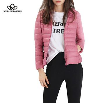 Light Duck Down Jacket Women 12 colors high collar Slim 90% content jacket Slim Warm Coat Woman Size (s-m-l-xl-xxl-xxxl) Jacket