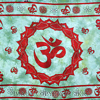 Om Turquoise Tapestry Wall Hanging Hippie Indian Tapestry Bohemian TIUK SBS036