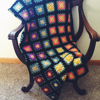 Vintage, Granny Square, Afghan, Black, Pink, Purple, Yellow, Blue, Teal Throw Blanket, Shabby Chic