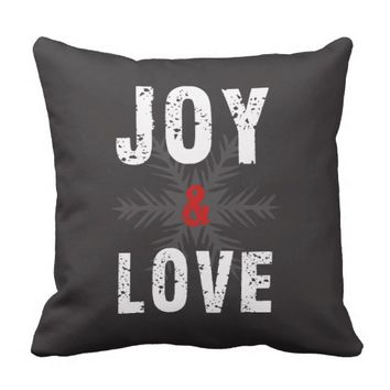 Modern Joy & Love Script Christmas Holiday Throw Pillow