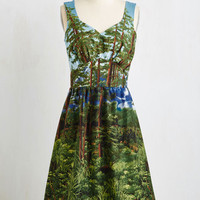 ModCloth Long Sleeveless A-line Let's Be Photorealistic Dress