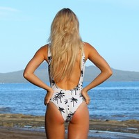 Palm Tree High Hip Thong Low back One Piece Bikini