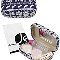 JAVOedge Blue Elephant Print Contact Lens Carrying Case Travel Kit with Mirror, Tweezer, and Soultion Bottle