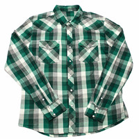 Vintage Green Plaid Pearl Snap Button Up Shirt Mens Size Large