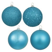 """4"""" Assorted Ornament Ball - Turquoise (12 Per Box) : Target"""