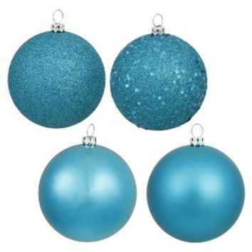 "4"" Assorted Ornament Ball - Turquoise (12 Per Box) : Target"