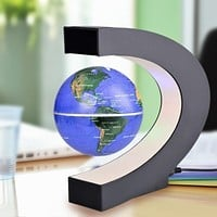 C Shape LED Globe World Map Electronic Magnetic Levitation Floating Globe Antigravity LED Light Black Blue Drop Shipping