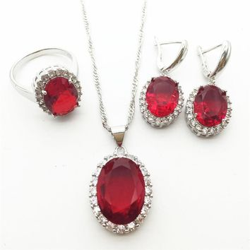 2015 New ROSE Garnet Crystal 925 Silver Jewelry Sets For Women Earrings/Necklace/Pendant Ring Size 6 7 8 9 Free shipping
