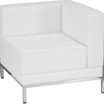Imagination Series Contemporary White Leather Right Corner Chair with Encasing Frame