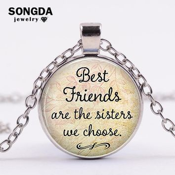 "SONGDA ""Best Friends Are The Sisters We Choose"" Quote Proverb Statement Necklace Best friend Birthday Gifts Friendship Jewelry"