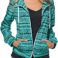 Zine Tribal Print Mint Windbreaker Jacket
