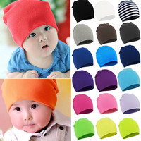 Newborn 2016 Winter New Unisex Baby Boy Girl Kids Toddler Infant colorful Cotton Soft Cute Hats Cap Beanie Free shipping