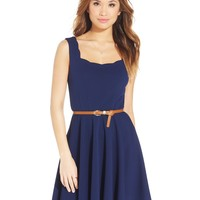 City Studios Juniors' Scalloped-Trim Belted Dress