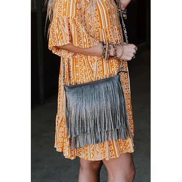 Going Out Fringe Bag - Gray
