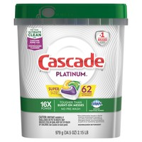 Cascade Platinum Actionpacs Dishwasher Detergent Lemon - 62ct